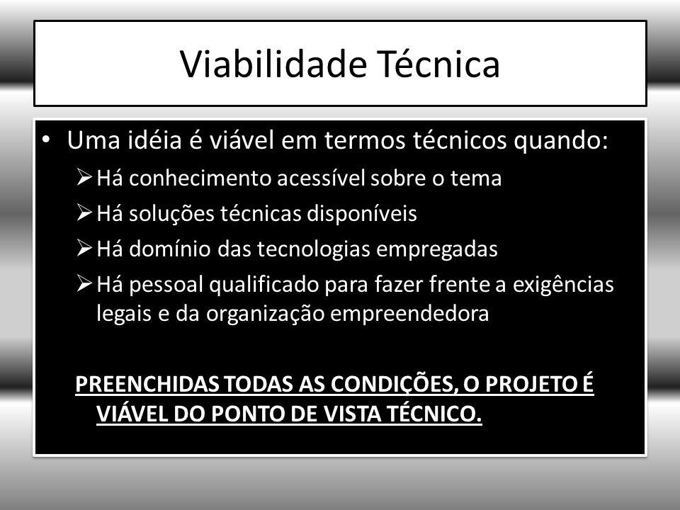 Viabilidade Técnica Uma idéia é viável em termos técnicos quando: