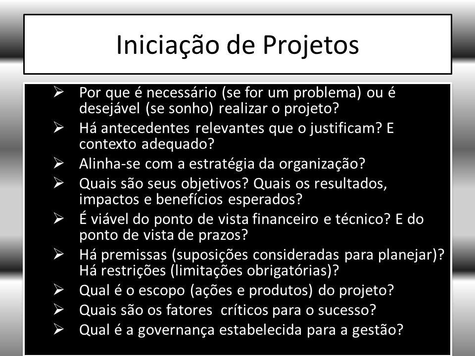 Iniciação de Projetos Por que é necessário (se for um problema) ou é desejável (se sonho) realizar o projeto