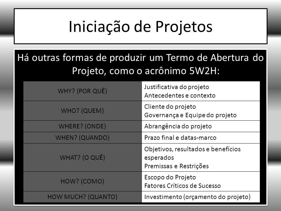 Iniciação de Projetos Há outras formas de produzir um Termo de Abertura do Projeto, como o acrônimo 5W2H: