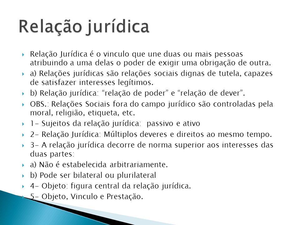 Relação jurídica Relação Jurídica é o vinculo que une duas ou mais pessoas atribuindo a uma delas o poder de exigir uma obrigação de outra.
