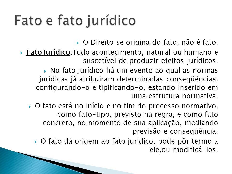 Fato e fato jurídico O Direito se origina do fato, não é fato.