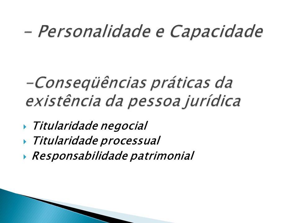 -Conseqüências práticas da existência da pessoa jurídica