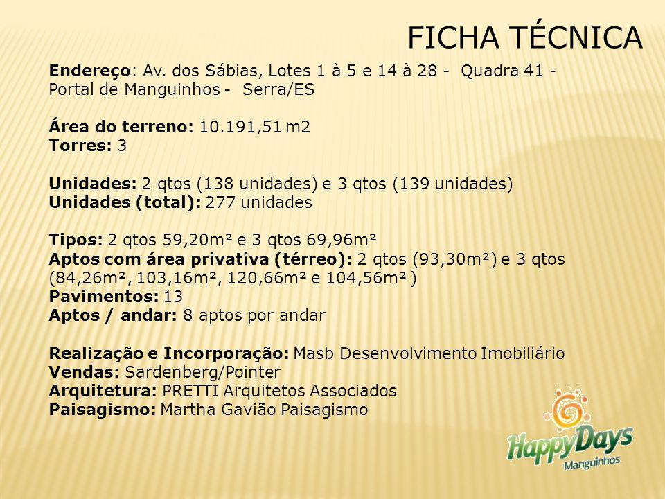 FICHA TÉCNICA Endereço: Av. dos Sábias, Lotes 1 à 5 e 14 à 28 - Quadra 41 - Portal de Manguinhos - Serra/ES.
