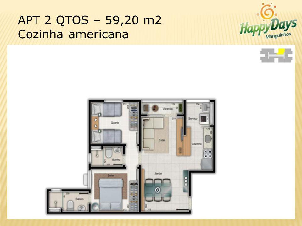 APT 2 QTOS – 59,20 m2 Cozinha americana
