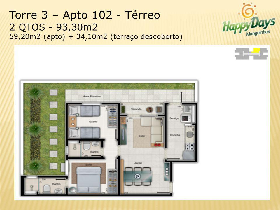 Torre 3 – Apto 102 - Térreo 2 QTOS - 93,30m2