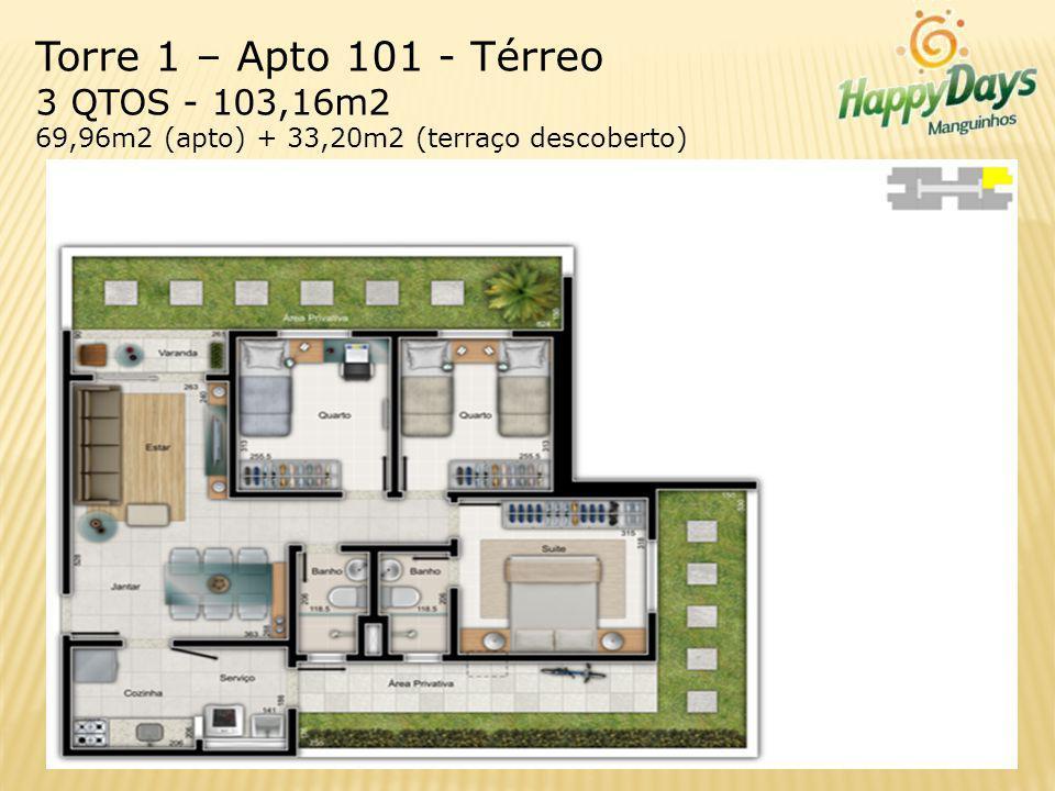 Torre 1 – Apto 101 - Térreo 3 QTOS - 103,16m2