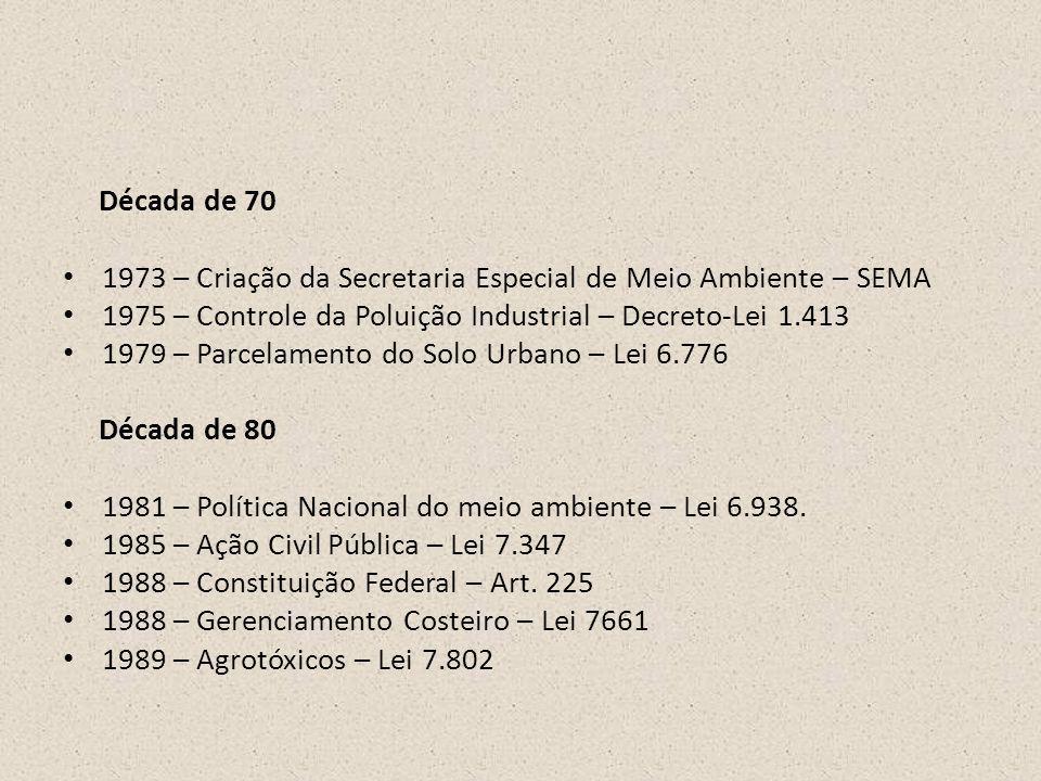 Década de 70 1973 – Criação da Secretaria Especial de Meio Ambiente – SEMA. 1975 – Controle da Poluição Industrial – Decreto-Lei 1.413.