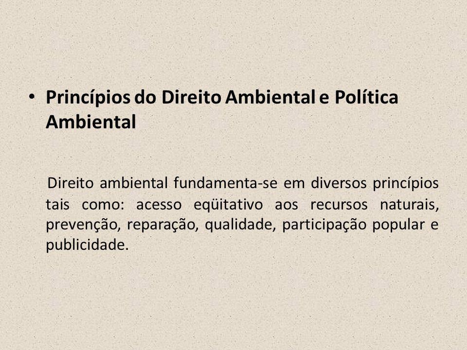 Princípios do Direito Ambiental e Política Ambiental
