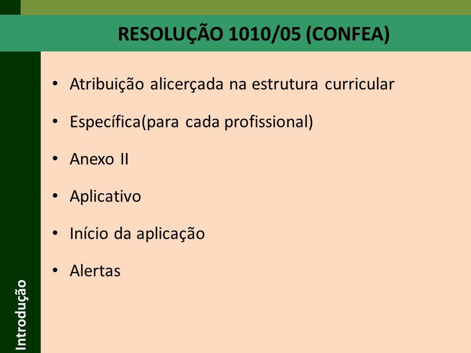 Introdução RESOLUÇÃO 1010/05 (CONFEA) Atribuição alicerçada na estrutura curricular. Específica(para cada profissional)