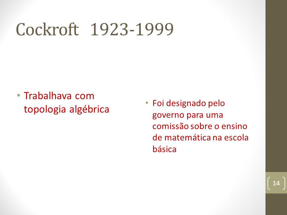 Cockroft 1923-1999 Trabalhava com topologia algébrica