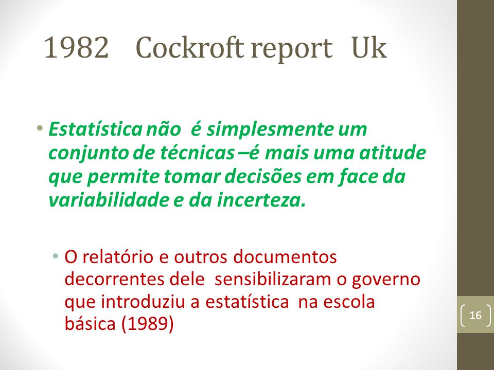1982 Cockroft report Uk