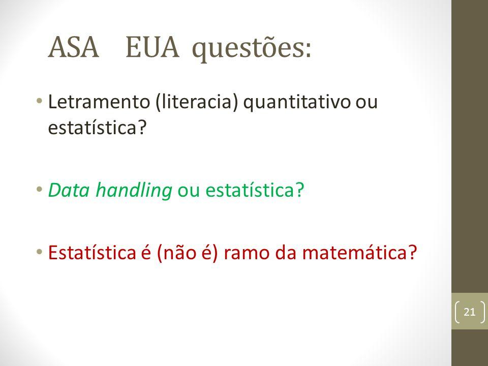 ASA EUA questões: Letramento (literacia) quantitativo ou estatística