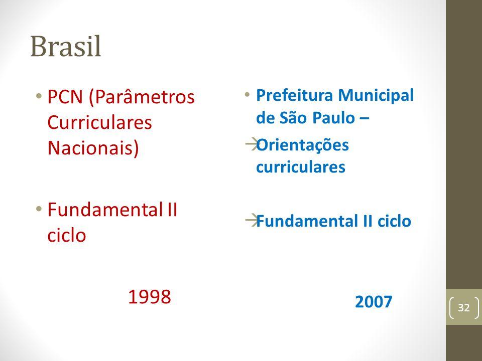 Brasil PCN (Parâmetros Curriculares Nacionais) Fundamental II ciclo