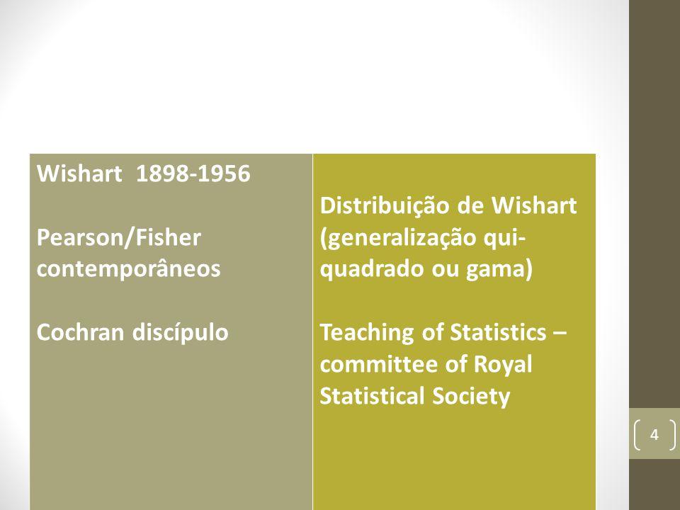 Wishart 1898-1956 Pearson/Fisher contemporâneos. Cochran discípulo. Distribuição de Wishart. (generalização qui-quadrado ou gama)
