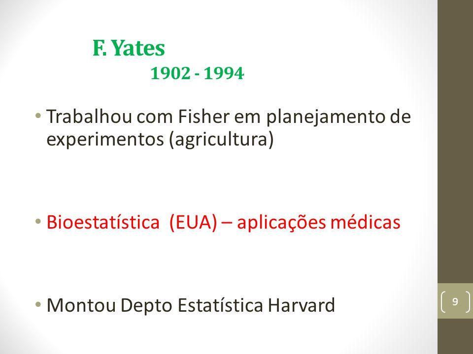 F. Yates 1902 - 1994 Trabalhou com Fisher em planejamento de experimentos (agricultura)