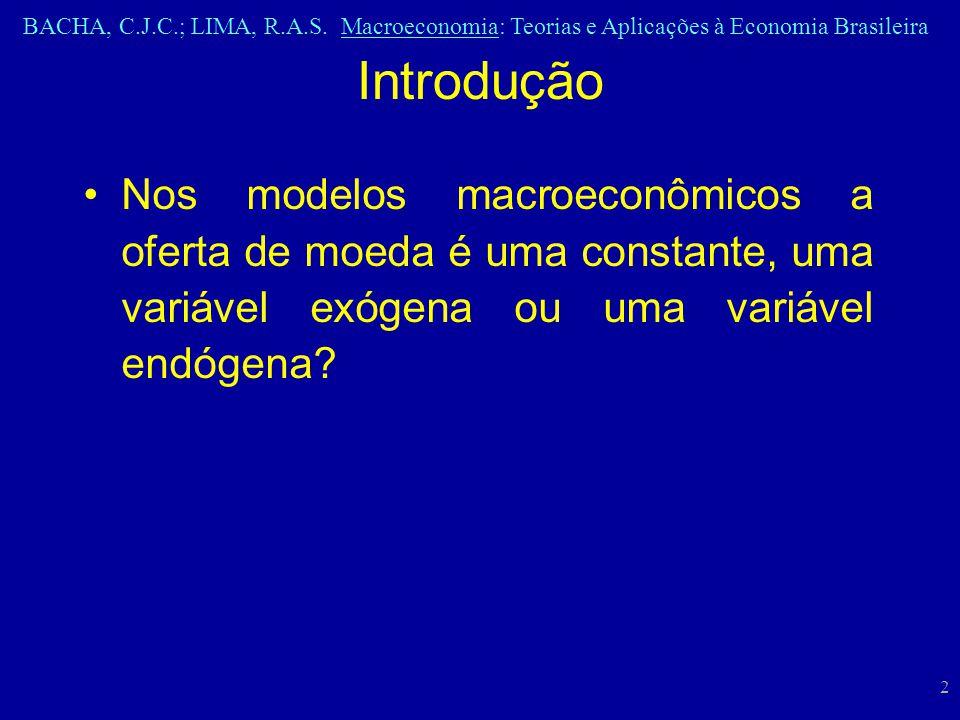 Introdução Nos modelos macroeconômicos a oferta de moeda é uma constante, uma variável exógena ou uma variável endógena