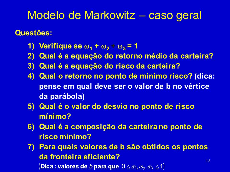 Modelo de Markowitz – caso geral
