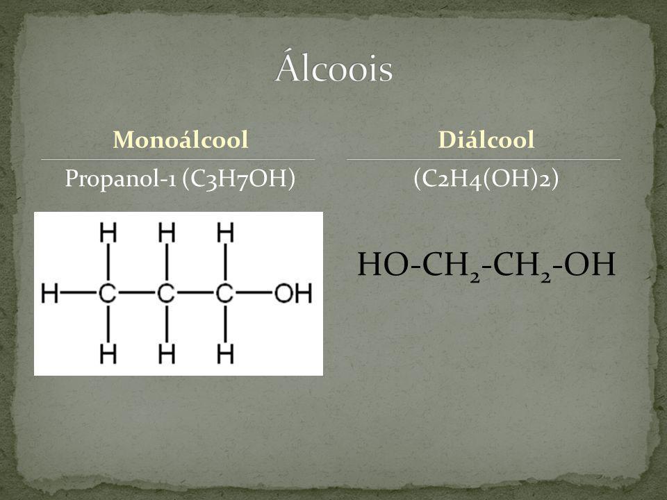 Álcoois HO-CH2-CH2-OH Monoálcool Diálcool Propanol-1 (C3H7OH)