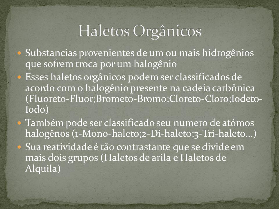 Haletos Orgânicos Substancias provenientes de um ou mais hidrogênios que sofrem troca por um halogênio.