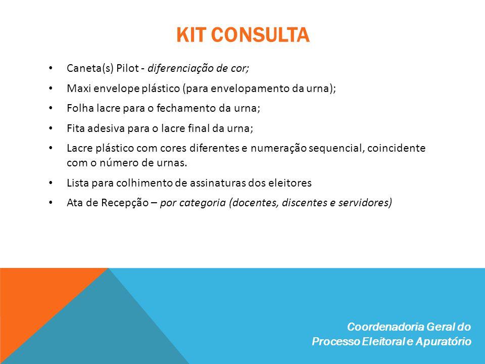 KIT CONSULTA Caneta(s) Pilot - diferenciação de cor;
