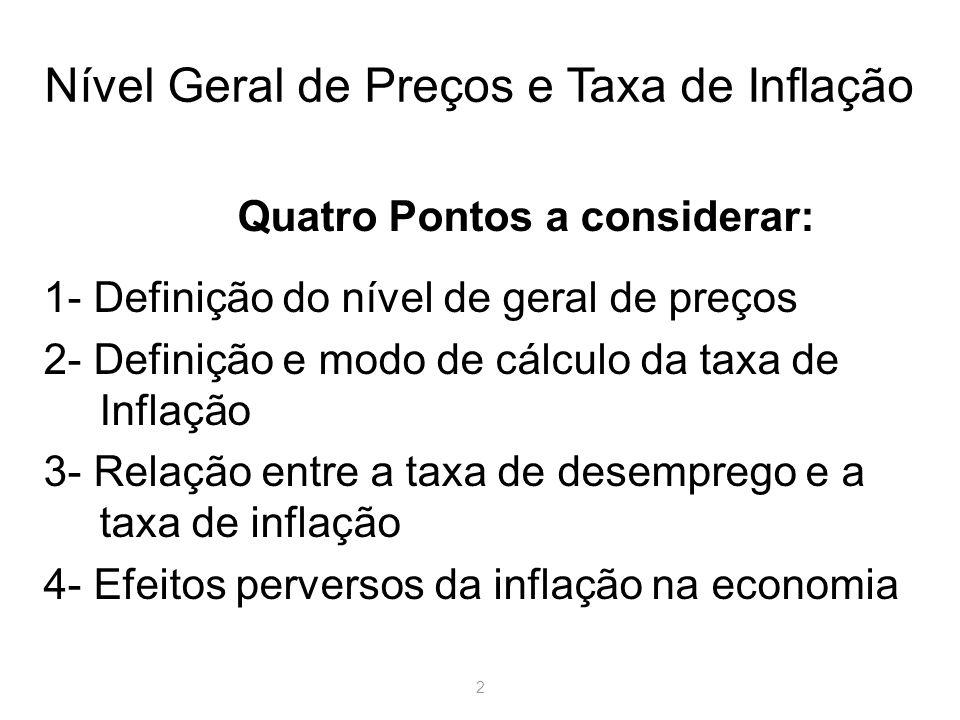 Nível Geral de Preços e Taxa de Inflação
