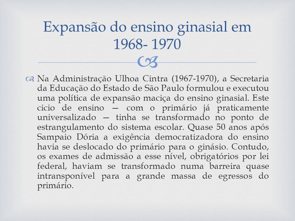 Expansão do ensino ginasial em 1968- 1970