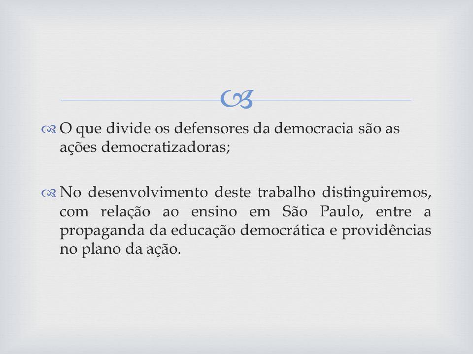 O que divide os defensores da democracia são as ações democratizadoras;