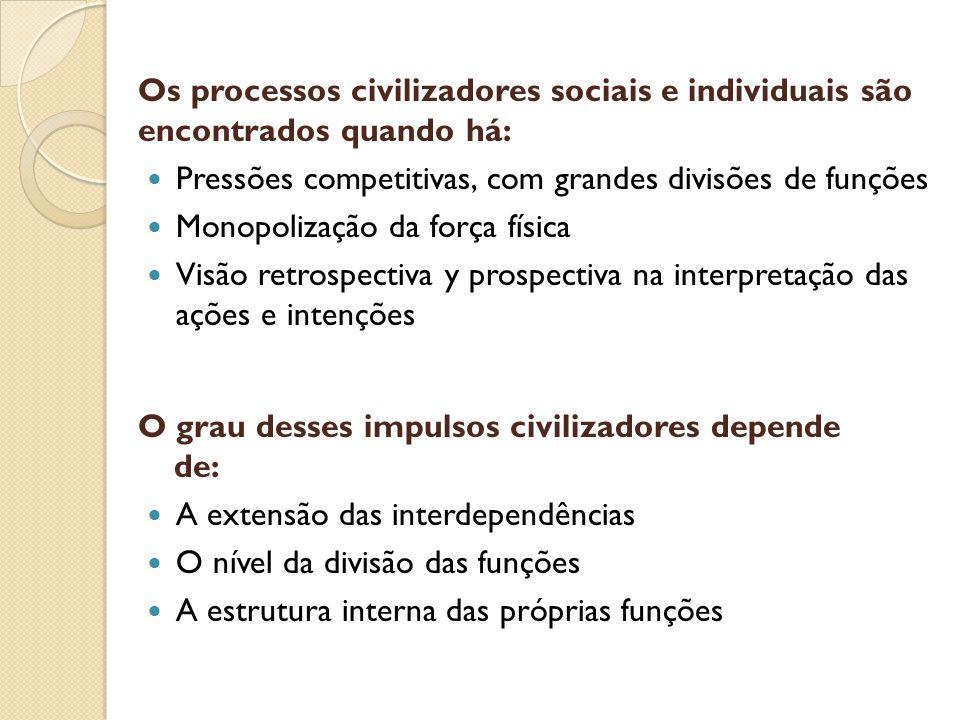 Os processos civilizadores sociais e individuais são encontrados quando há: