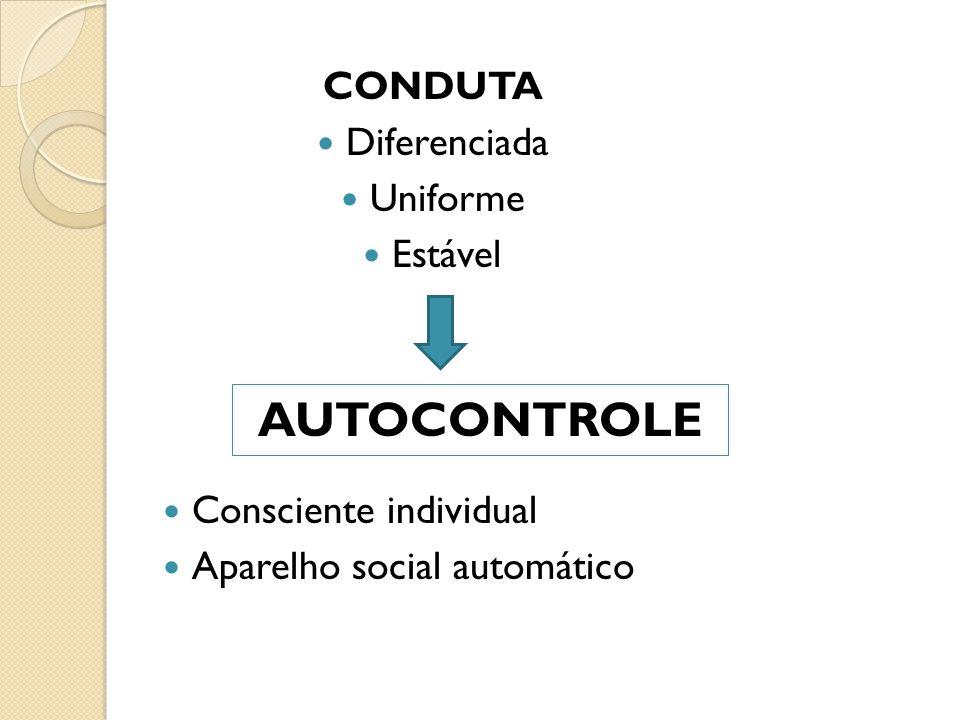 AUTOCONTROLE CONDUTA Diferenciada Uniforme Estável