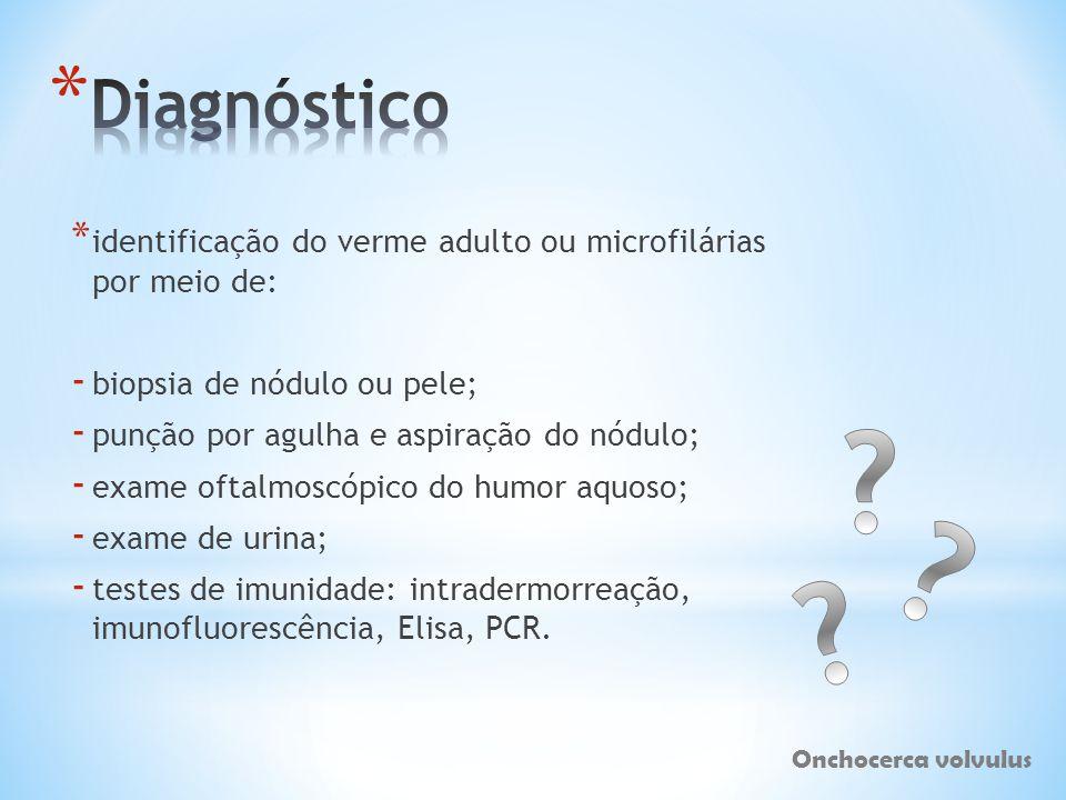 Diagnóstico identificação do verme adulto ou microfilárias por meio de: biopsia de nódulo ou pele;
