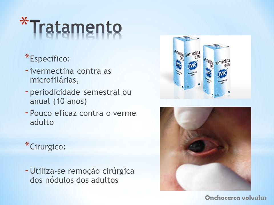 Tratamento Específico: ivermectina contra as microfilárias,