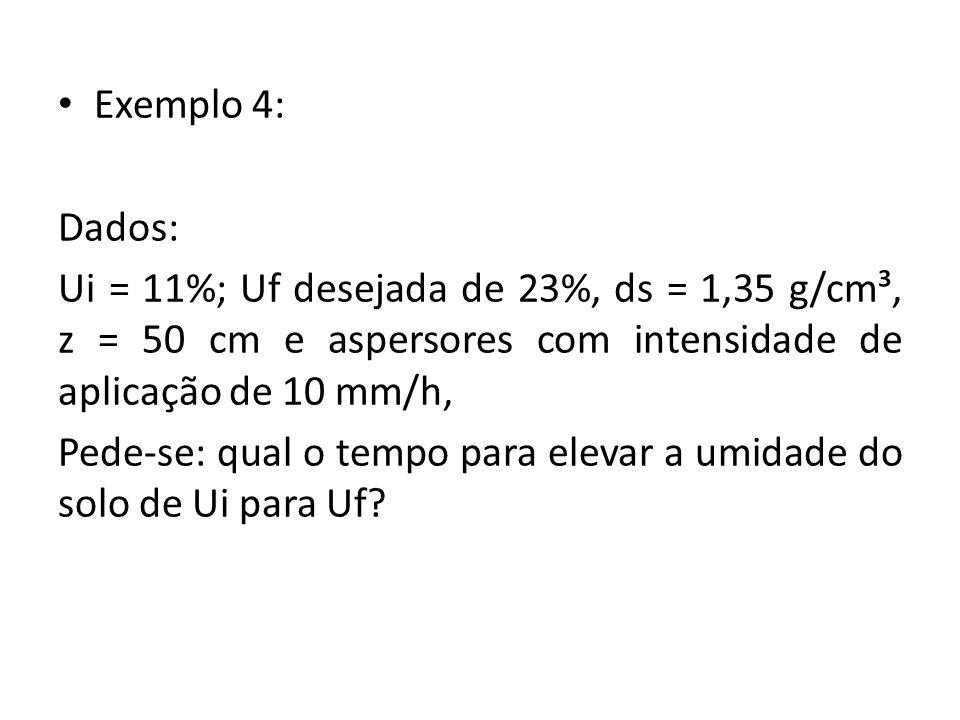 Exemplo 4: Dados: Ui = 11%; Uf desejada de 23%, ds = 1,35 g/cm³, z = 50 cm e aspersores com intensidade de aplicação de 10 mm/h,