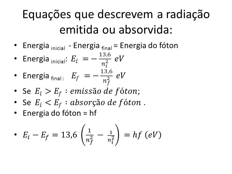 Equações que descrevem a radiação emitida ou absorvida: