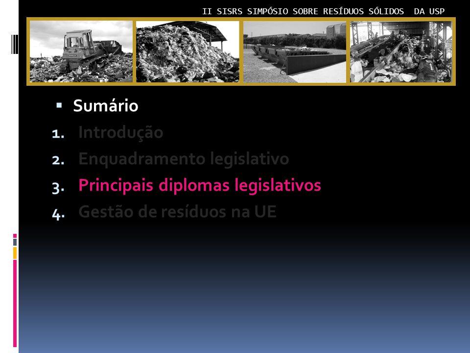 Sumário Introdução. Enquadramento legislativo. Principais diplomas legislativos.
