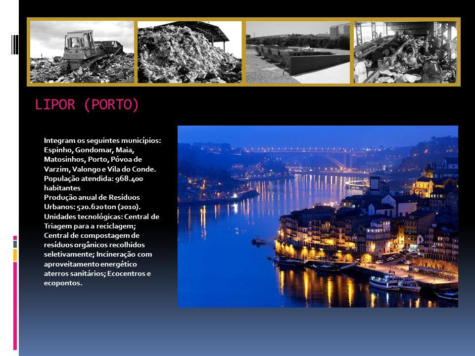 LIPOR (PORTO) Integram os seguintes municípios: Espinho, Gondomar, Maia, Matosinhos, Porto, Póvoa de Varzim, Valongo e Vila do Conde.
