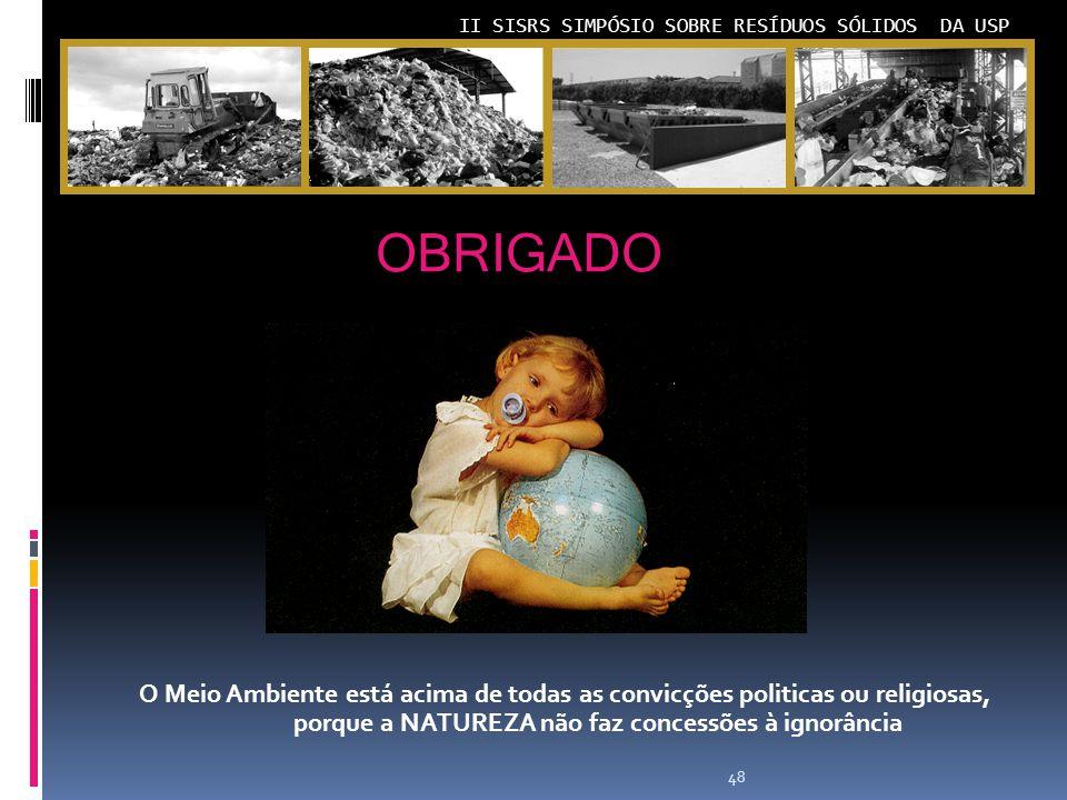 OBRIGADO O Meio Ambiente está acima de todas as convicções politicas ou religiosas, porque a NATUREZA não faz concessões à ignorância.