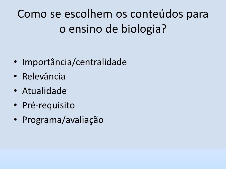 Como se escolhem os conteúdos para o ensino de biologia