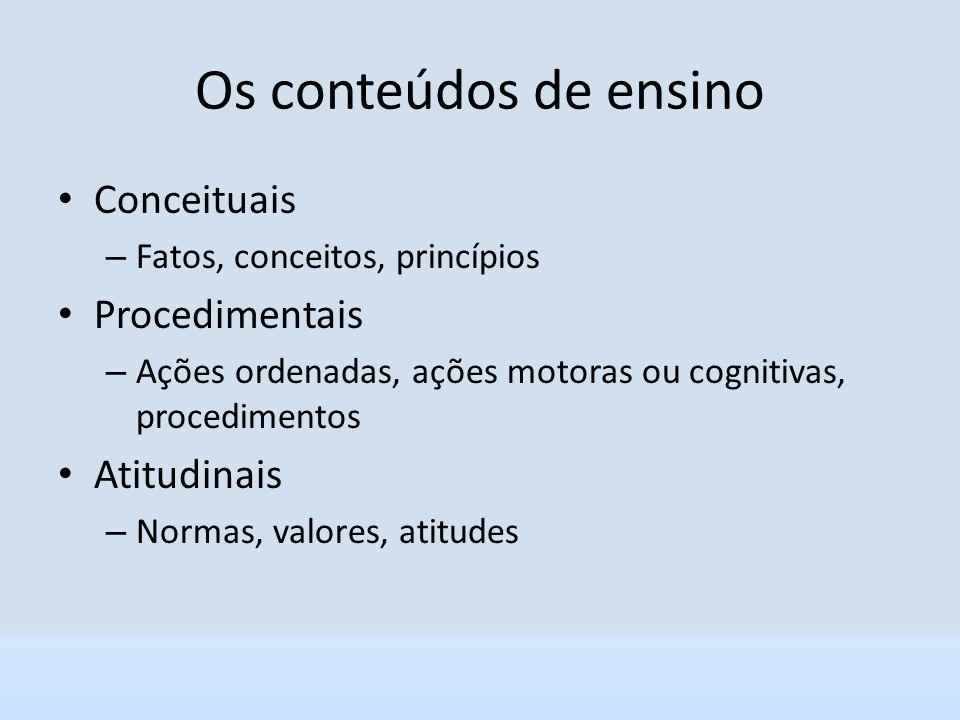 Os conteúdos de ensino Conceituais Procedimentais Atitudinais