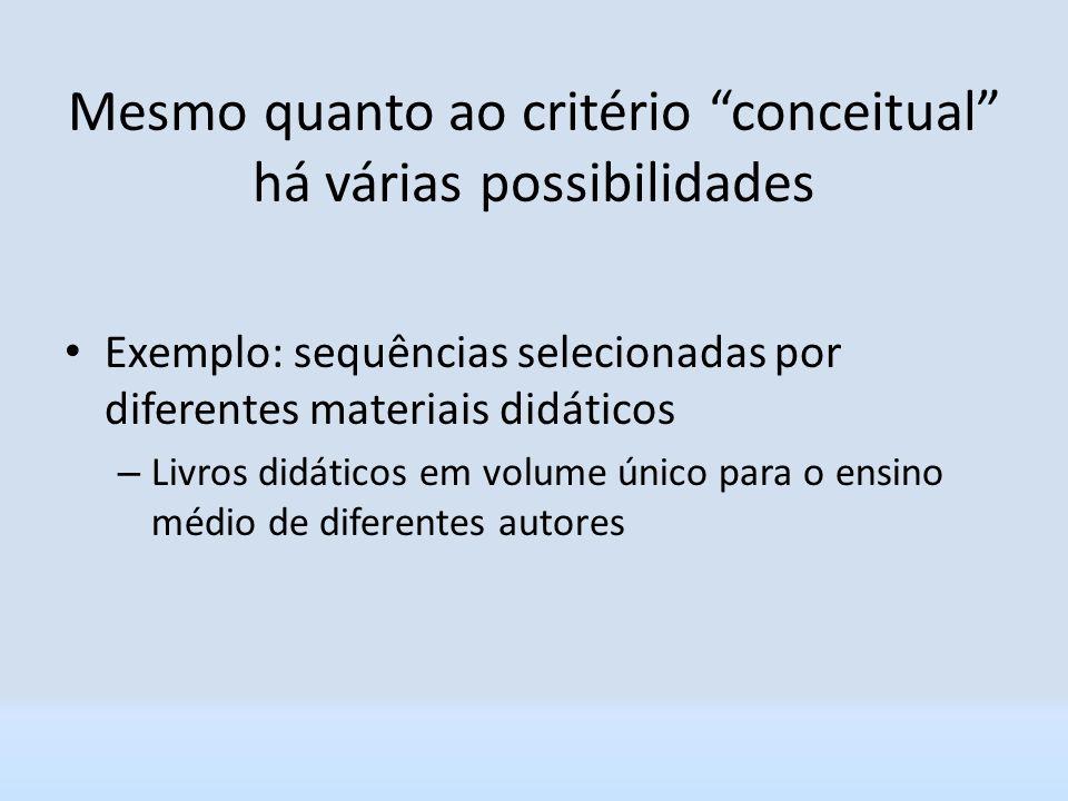 Mesmo quanto ao critério conceitual há várias possibilidades