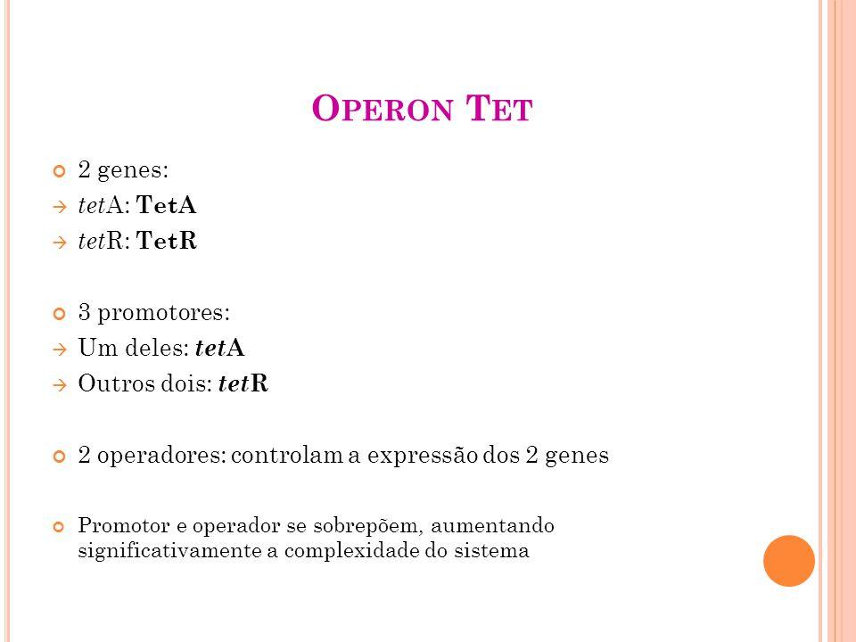 Operon Tet 2 genes: tetA: TetA tetR: TetR 3 promotores: Um deles: tetA