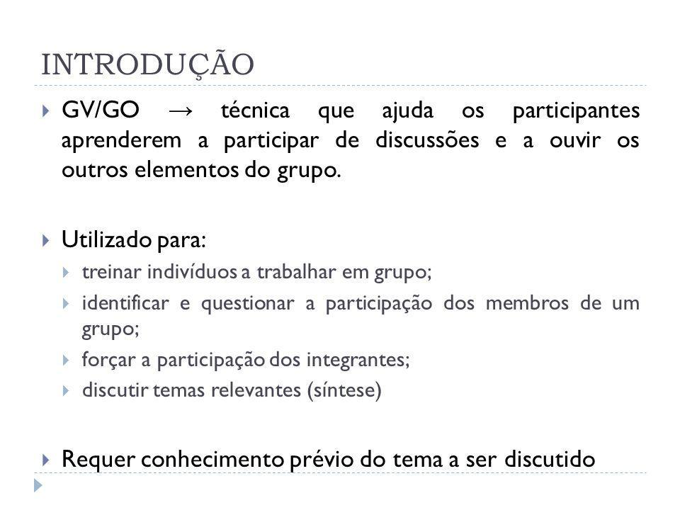 INTRODUÇÃO GV/GO → técnica que ajuda os participantes aprenderem a participar de discussões e a ouvir os outros elementos do grupo.