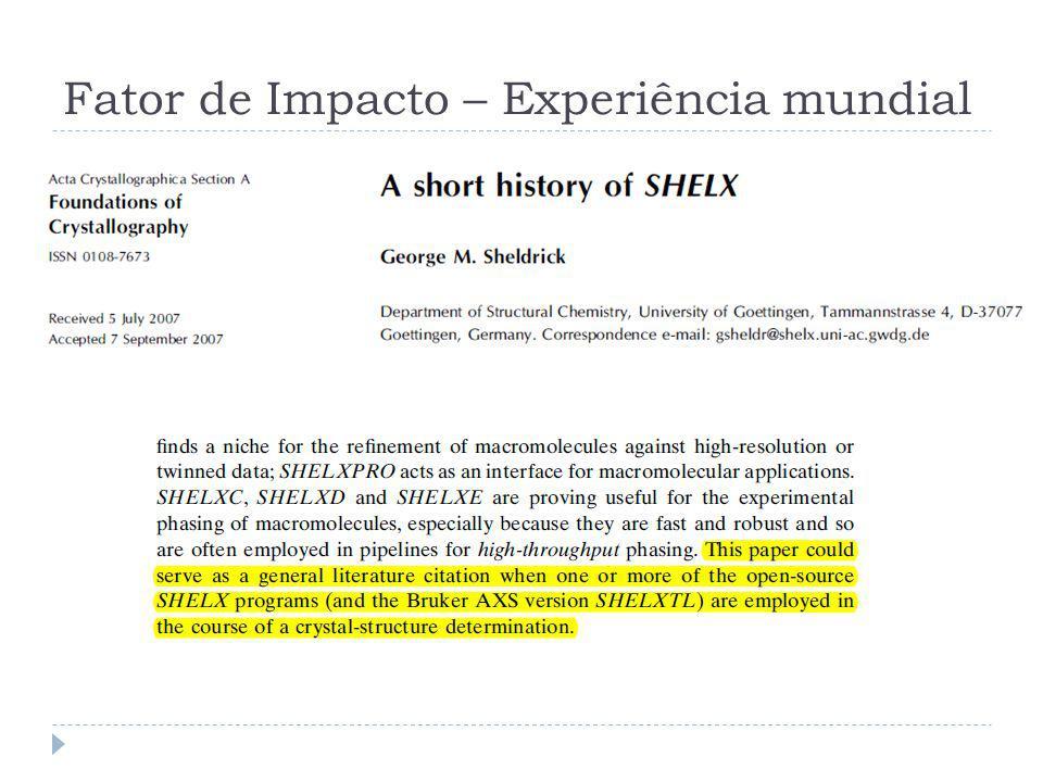 Fator de Impacto – Experiência mundial