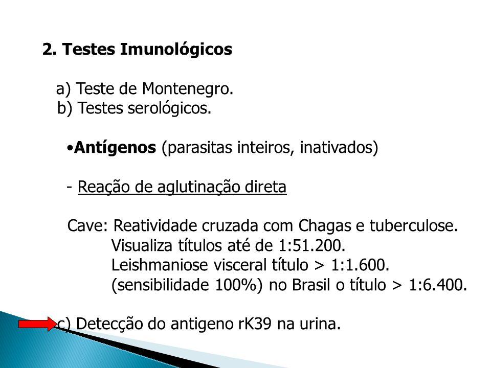 2. Testes Imunológicos a) Teste de Montenegro. b) Testes serológicos. Antígenos (parasitas inteiros, inativados)