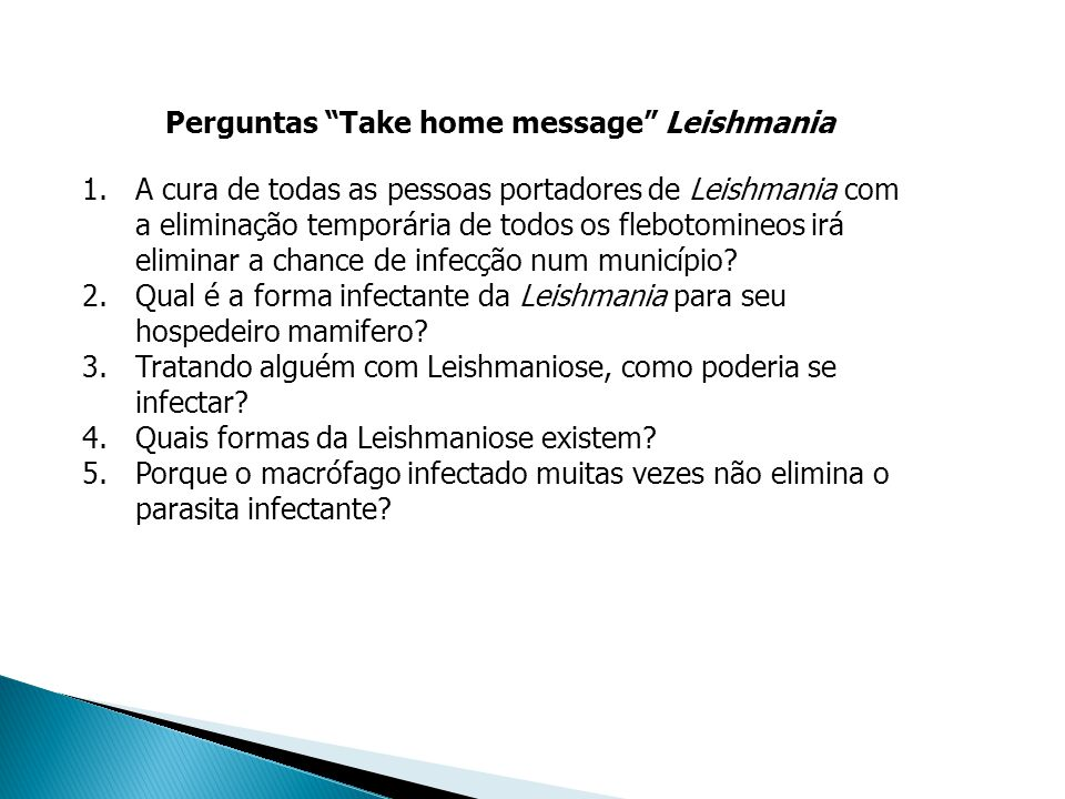 Perguntas Take home message Leishmania