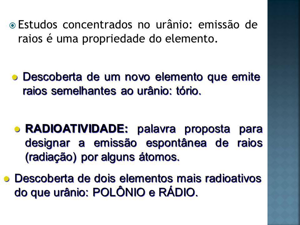 Estudos concentrados no urânio: emissão de raios é uma propriedade do elemento.