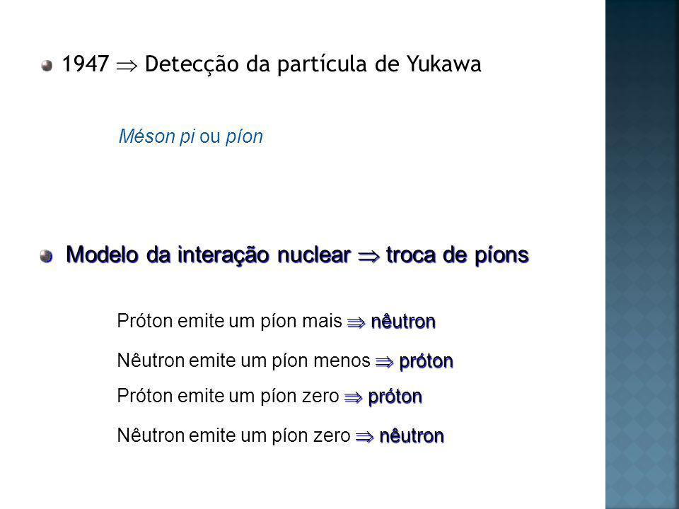 1947  Detecção da partícula de Yukawa
