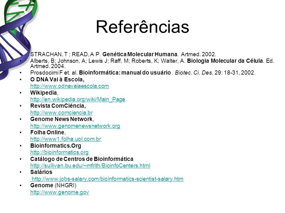 Referências STRACHAN, T ; READ, A P. Genética Molecular Humana. Artmed. 2002.