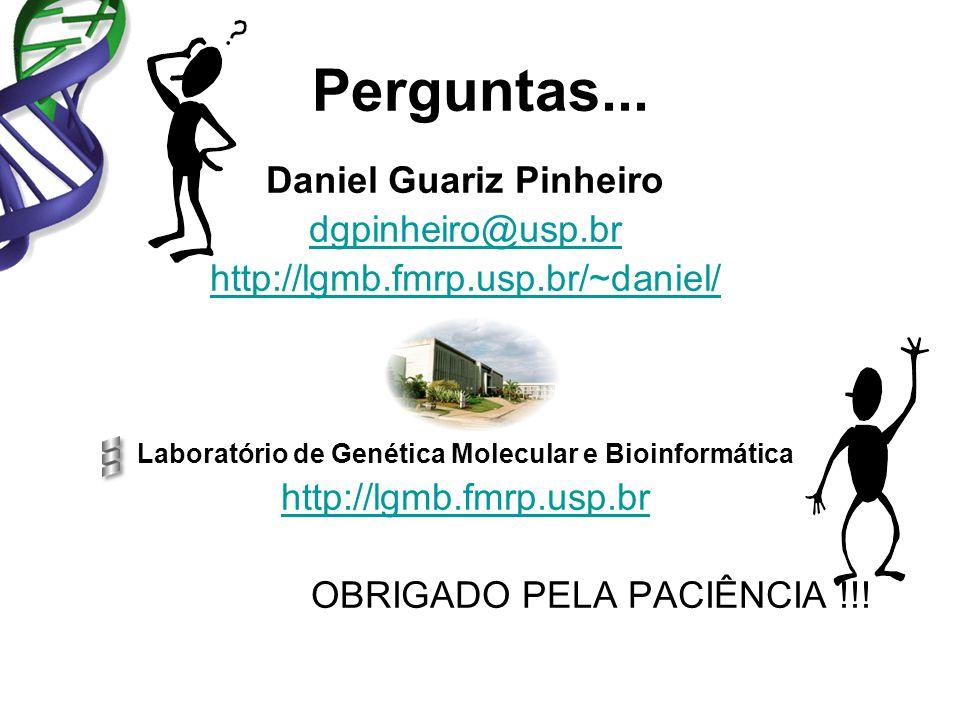 Perguntas... Daniel Guariz Pinheiro dgpinheiro@usp.br