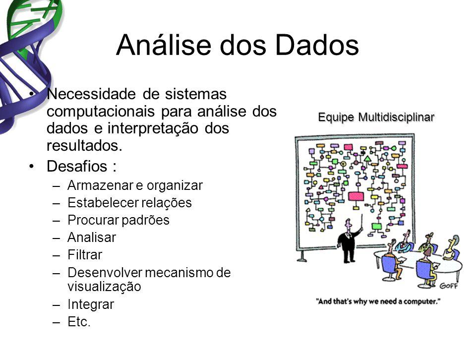 Análise dos Dados Necessidade de sistemas computacionais para análise dos dados e interpretação dos resultados.