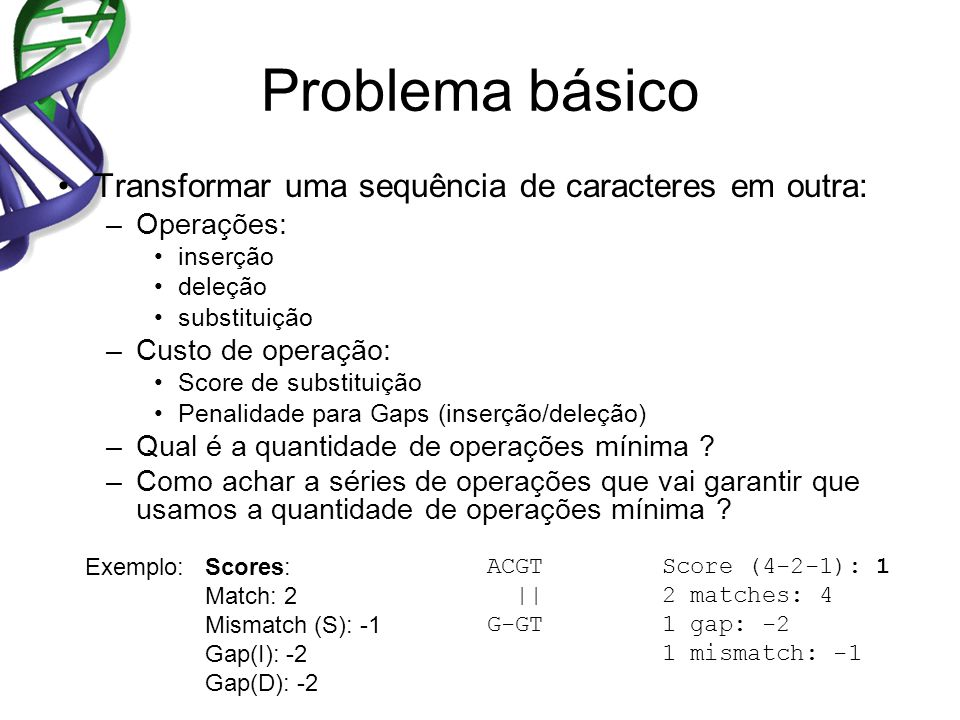 Problema básico Transformar uma sequência de caracteres em outra: